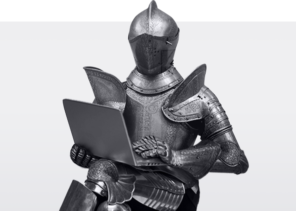 Knight with notebook reading U-Knight Web Development Studio site